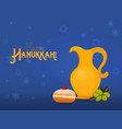 greeting card for jewish holiday of hanukkah vector image