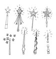 hand drawn doodle magic wand set perfect for vector image