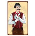 handsome man steampunk card vector image