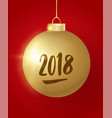hanging christmas golden ball on red background vector image vector image