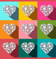 hearts set paper cut flat design colorful heart vector image vector image