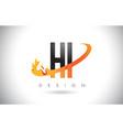 hi h i letter logo with fire flames design vector image vector image