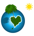 Love island on the earth vector image vector image