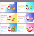 merry christmas santa claus and elf winter holiday vector image vector image