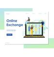 online exchange website landing page design vector image vector image
