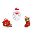 paper cut santa christmas stocking present box vector image