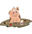 Pig and a toy ship cartoon vector image