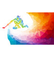 polygonal geometric curling player vector image