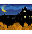 Pumpkins and house with glowing windows vector image vector image