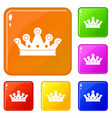 royal crown icons set color vector image vector image