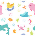 seamless pattern baby print with cute sea animals vector image
