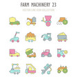 set retro icons farm machinery vector image