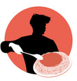 silhouette of chef carrying a plate of spaghetti vector image vector image