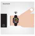 Smartwatch on businessman hand vector image vector image