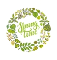 Spring time letteringGreen leaves circle wreath