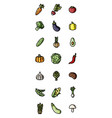 vegetables flat colorful icons set of icons for vector image