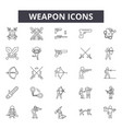 weapon line icons for web and mobile design vector image