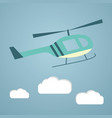 flat helicopter in the sky vector image