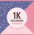 1k followers thank you card social network banner vector image