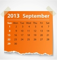 2013 calendar september colorful torn paper vector image vector image