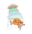 a cute and funny cartoon farm cow is abducted by vector image vector image
