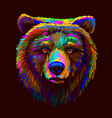 abstract multi-colored portrait a brown bear lo vector image vector image