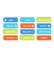 action buttons set flat web buttons design vector image