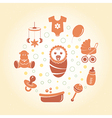 Baby icons round card vector image