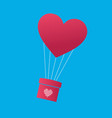 balloon in the shape of heart carring the gift vector image vector image