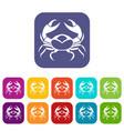 big crab icons set flat vector image vector image