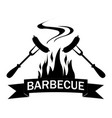 black and white logo grilled food vector image vector image