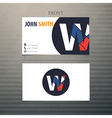 business card template letter W vector image vector image