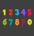 cartoon balloon numbers for birthday fun kids vector image