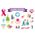 Charity care flat icons set vector image vector image