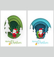 christmas greetings in paper cut style vector image vector image