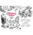 christmas menu winter restaurant and cafe sketch vector image vector image