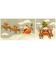christmas winter holiday santa claus and deers vector image vector image