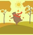 cute bear cartoon for hello autumn concept design vector image