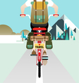 Cyclist riding bicycle vector image