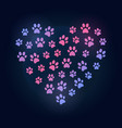 dog footprints in heart shape colored vector image vector image