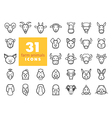 Farm animals outline icons set head vector image vector image