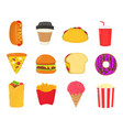 fast foodsnacks set french fries hot dog vector image