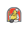 Fat Happy Buddha Chef Cook Cartoon vector image vector image