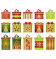 fifteen color christmas gifts vector image