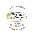 fresh farm produce and logo vector image vector image