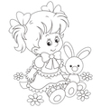 Girl and Bunny vector image vector image