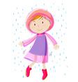 Girl in pink raincoat vector image