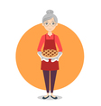 Grandma with sweet pie in her hands vector image vector image