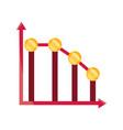 graph down arrow money stock market crash isolated vector image vector image