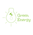 Green energy word combined with light bulb vector image